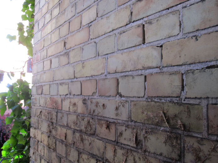 Fasad som tidigare varit täckt med murgröna men nu blivit tvättad