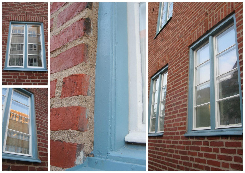 Kollage med olika detaljer av den vackra blå- och vitmålade fönstren efter fönsterrenovering