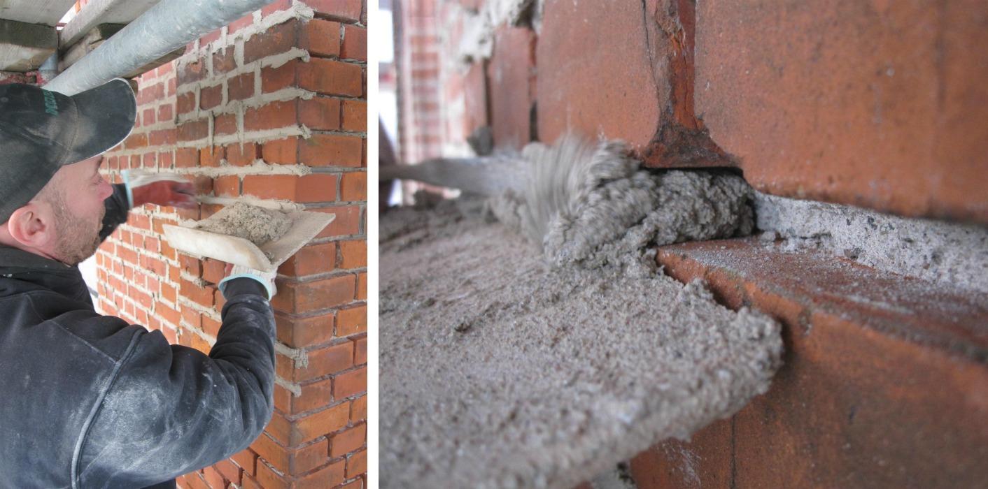 Arbetsmomenten vid omfogning av tegelfasader vid fasadrenovering i Landskrona.