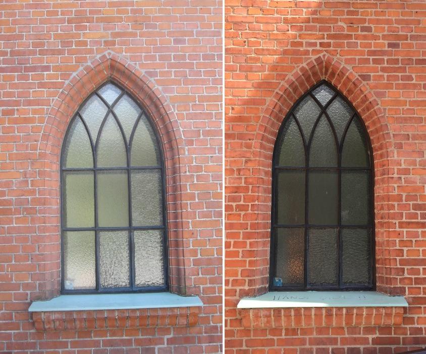 Närbild på teglet kring kyrkfönstren för och efter fasadrenoveringen i Landskrona