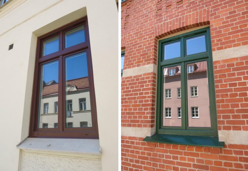 I projekten finns det tre olika fönsterfärger. Stadsbyggnadskontoret ska ha ett stort tack för hjälpen i processen att hitta rätt kulör och glans. Vi är mycket nöjda över resultatet.