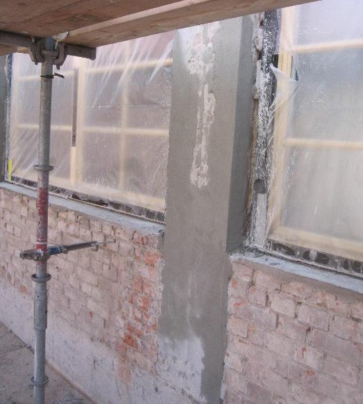 Fasaden efter upplagning i samband med fasadrenovering i helsingborg